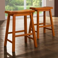 Weston Home 24 in. Saddle Back Stool - Oak - Set of 2, Brown, 2