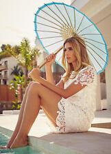 Celebridad Estilo superposición de encaje blanco de verano embellecido con lentejuelas Mini Falda Talla 12