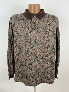 Vintage 90s Lands End Long Sleeve Polo Shirt Men LARGE Brown Baroque Paisley USA