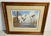 David Maass Signed Numbered Print On the Move Mallards Framed Duck Art /1500