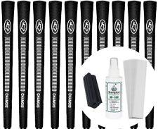 Avon Chamois Black Standard Size Golf Grips Set of 10 w/ Grip Kit - New