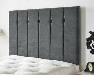 Luxurious Plush Velvet Upholstered Vertical Panel Tufted Divan Bed Headboard