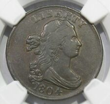 1804 Draped Bust Half Cent Stemless Plain 4 NGC AU50 C-13 No Stems
