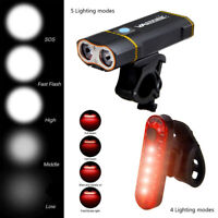 6000LM 2x XML L2 LED Front Bicycle Light Headlamp 18650 Rechargeable Taillight