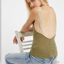 Free People Flipside Lace Cami Green Women's Size S
