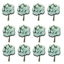 Craft Flowers -12mm Qty x 144 Mini Mulberry Paper Rose - Light Blue