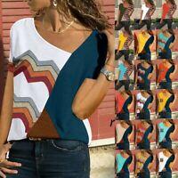 Fashion Women Casual Summer Short Sleeve Patchwork Cotton T-Shirt Blouse Tops US
