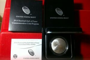 2014-P Baseball Hall of Fame Silver Dollar Uncirculated Coin Mint w/Box & COA