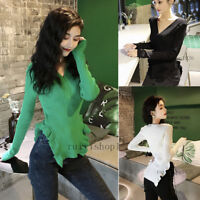 Women V Neck Ruffle Long Sleeve Casual Party Basic Knit Sweater Shirt Blouse Top