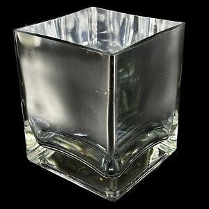 "Vintage Square Silver Glass Vase Teleflora Gift Mirror Mirrored Cube Modern 5"""