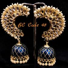 Indian Fashion ! Pearl Beaded & CZ Gold Plated Handmade Dangle Jhumka Earrings