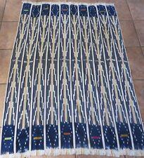 "Vintage African,Baule Indigo Dyed, Ikat, Strip Woven Textile/60�x 40"""