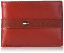 Tommy Hilfiger Men's Leather Wallet Thin Casual Passcase Removable ID Red