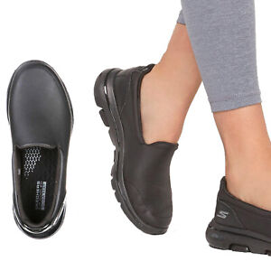 Skechers Go Walk 5 Polished Womens Black Leather Ultra Casual Slip On Trainers