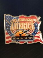 Vintage Collectible Silver Dollar City Celebrate America Colorful Metal Pin Back