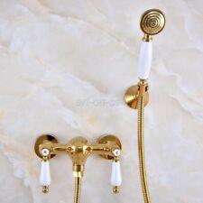 Bathroom Gold Color Brass Wall Mount Handheld Shower Faucet Shower Spray