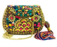 Ethnic Indian art Handmade Stone mosaic metal bag Women Girl party Bridal clutch