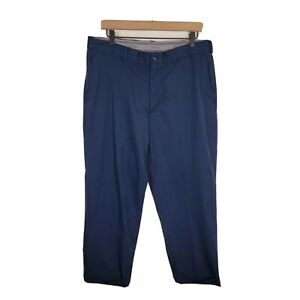 Walter Hagen Mens Blue Solid Polyester Flat Front Straight Leg Casual Golf Pants