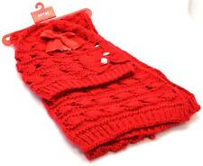 Winter Apt.9 Women Beautiful 2 piece Red Open Knit Combo Scarf Cap New Lot 1299