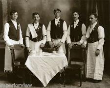Old Time Waiters In Uniform Napkins Vintage Restaurant Waiter Staff 1890 GREAT