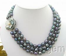 N0903038 3Strds Black Baroque Pearl Necklace-Cameo Flower Clasp