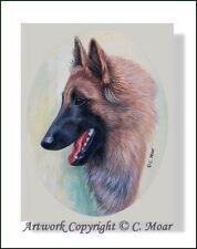 Belgian Shepherd Red Tervuren Dog Head Profile OE Art Print CMOAR Berger Belge
