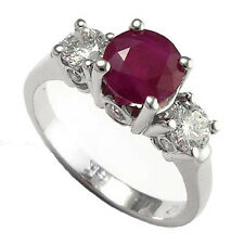 Ruby and Diamond 3 Stone Lucida Engagement Ring in 14k #R555.