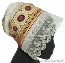 ANTIQUE bobbin lace bonnet Slovak folk costume embroidered cap old ethnic kroj