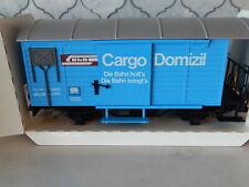 LGB 4127 G Gauge Cargo Dominizil Box Car Blue Single Axle