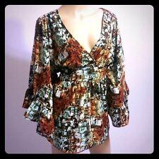 Betsey Johnson Geometric Print Angel Bell Boho Sleeves Kimono Blouse Top L