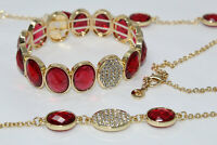 Goldtone Red Faceted & Clear Pave Rhinestone Stretch Bracelet & Necklace Set B2