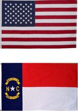 2x3 USA Flag & North Carolina Flag 2 Sided Embroidered American Flag USA SHIPPER