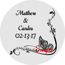 120 Personalized Custom Black Butterfly Wedding Round Stickers Envelope Seals