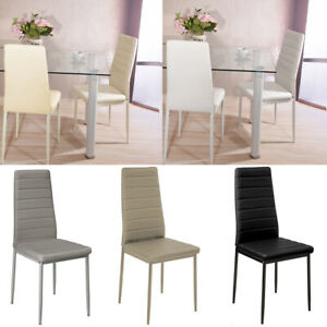 High Back Chair 2/4/6 Seater Padded Soft Ribbed Scalloped Dining Chairs Kitchen