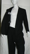 Vintage Gianni Versace Black Textured Jacket High Waist Pant 90s Suit 52 Italy