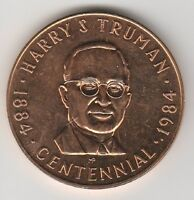 (T) Token - Harry S. Truman - Centennial - 1984 BU - 38 MM Copper