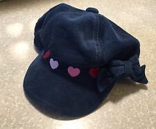 Girls GYMBOREE corduroy Blue Hat Cap Hearts Prep School BTS EUC