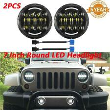 "2PC 7"" Halo LED Headlight High&Low Beam Clear Lens For Jeep Wrangler JK TJ Chevy"
