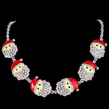 6 Santa Claus Necklace Clear Austrian Crystal Silver GP Women Christmas Gift