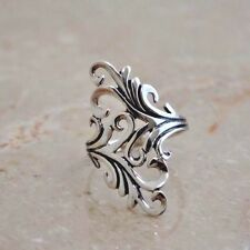 "LONG PRETTY FILIGREE  RING   1 1/4"" long  All Genuine Sterling Silver Size 7"
