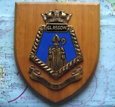 Vintage HMS Glasgow Painted Royal Navy Ship Badge Crest Shield Plaque b