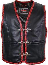 Herren Lederweste mit roten Extras Kutte Lederkutte Bikerweste Clubweste Chopper