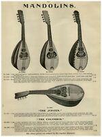 1907 PAPER AD Mandolin American Conservatory Columbus Rosewood Inlayed