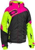 Castle X Womens Code Charcoal/Pink Glo/Hi-Vis Jacket Snowmobile Coat
