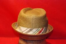 Fedora Off Brown Straw Vintage Men's Hat with Checkered Band size 7 1/8