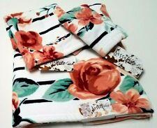KASSAFINA Peach Rose Flowers Striped Plush Bath Hand, Wash Cloth Towel Set of 3