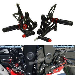 Adjustable Rearset Footrests Foot Pegs Black For SUZUKI GSR750 GSXS750 GSR GSXS
