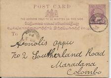 1893 QV Postcard Used 2c Overprint on 3c Duwaraeliya to Colombo