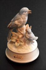 "Otagiri Porcelain Blue Birds Musical Figurine - Plays ""Love Me Tender"""