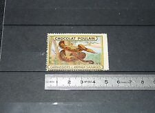 VIGNETTE CHOCOLAT POULAIN 1932 FRANCE CARNASSIERS & ANIMAUX SAUVAGES SERPENT BOA
